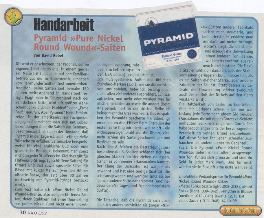 PYRAMID Pure Nickel Round Wound, Electric Guitar (SOLO 1999/2)