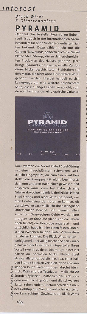 PYRAMID Black Wires, Electric Guitar (G&B Infotest)