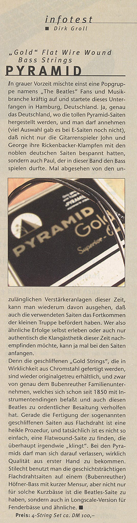 PYRAMID Gold Flatwound, Longscale Bass (G&B Infotest)