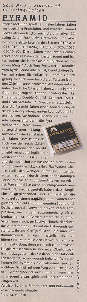 PYRAMID 12 String Gold Nickel Flatwound (G&B Infotest 2005/12)